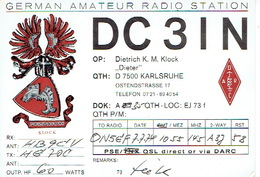 QSL - GERMANY - DC3IN - DIETRICH K. M. KLOCH - KARLSRUHE -  1974 - Radio-amateur