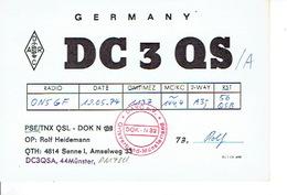 QSL - GERMANY - DC3QS - ROLF HEIDEMANN - SENNE - 1974 - Radio Amatoriale