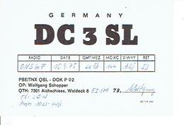 QSL - GERMANY - DC3SL - WOLFGANG SCHOPPER - AICHSCHIESS - 1975 - Radio-amateur