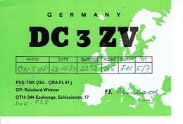 QSL - GERMANY - DC3ZV - REINHARD WIRKNER - ESCHWEGE - 1973 - Radio Amateur