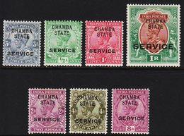 1903-1905. CHAMBA STATE / INDIA POSTAGE. SERVICE. Georg V. Set. 7 Ex.  (MICHEL Di. 26-32) - JF319161 - Sin Clasificación