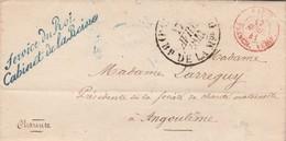 LAC Cursive Service Du Roi Cabinet De La Reine Cachet Franchise Vérifiée Paris 13/4/1841 à Angoulême  Voir Description - Storia Postale