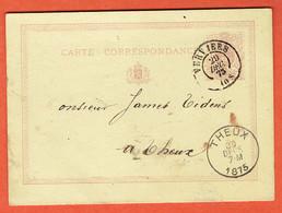 Carte Correspondance Entier Classique N°3a Verviers 29-DEC-1875 Vers Theux - Enteros Postales
