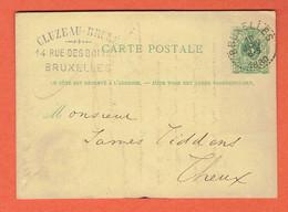 Carte Postale Entier Classique N°13 Bruxelles 10-JANV-1880 Vers Theux - Enteros Postales