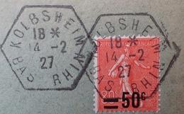 R1934/313 - 1927 - TYPE SEMEUSE FOND LIGNE - N°220 Sur ✉️ De Kolbsheim Du 14/02/1927 (agence Postale) Pour Strasbourg - Storia Postale