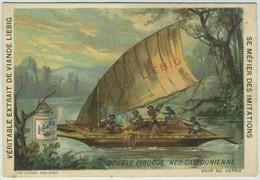 3 Chromos Liebig. S370. Double Pirogue Néo-calédonienne. Canot De Guerre Birman. Caravelle - Bateau Turc. - Liebig