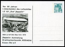ZEPPELIN LZ127 Over NEW YORK 1928 Germany STO Postal Card PP100 C2/006 Essen 1978 - Zeppeline