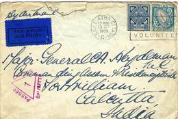 IRELAND 1939 Cover To India With 1/- And 3p Defin Stamps. Censor Mark On Front And Arrival Cds Marks On Reverse. - 1937-1949 Éire