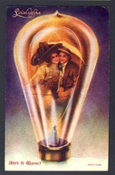 Lovelights - Couple Inside Filament Light Bulb, Ain't It Warm?  - 1909 Detroit Michigan USA - Humor