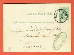 Carte Postale Entier Classique N°13 Malines 24-JUIN-1881 Vers Verviers - Postwaardestukken