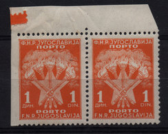 35. Yugoslavia 1951 Postage Due 1d Misplaced Perforation Variety Pair MNH - 1945-1992 Repubblica Socialista Federale Di Jugoslavia