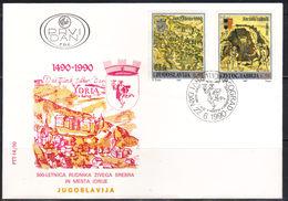 Yugoslavia,500 Years Of Mercury Mine In Idrija 1990.,FDC - FDC
