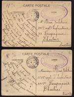 """1915 - 2 Cartes Avec Cachet """"HOPITAL BENEVOLE - RENNES Les BAINS (Aude)"""" De Rennes Les Bains Pour Chartres - Guerre De 1914-18"""