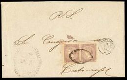 PUERTO RICO. 1868 (12 June). San Juan A Cabo Rojo. Frente De RS Con Franqueo De 5c.1868. Violeta, Ed Cuba 22 (x2). Mats. - Puerto Rico