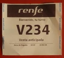 TICKET VENTA ANTICIPADA ATENCIÓN AL CLIENTE. TREN - RENFE - ESPAÑA - Billetes De Transporte
