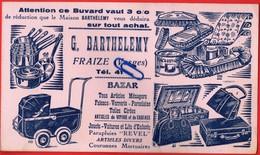 N0036  Buvard  G. BARTHELEMY Fraize (Vosges) BAZAR Articles Ménagers Faïence Jouets Voitures Lits D'enfants Parapluies - Blotters