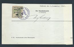 """Gebührenmarke Standesamt Ettelbrück - 60 Rpf Stempel """"Der Standesbeamte In Ettelbrück Kreis Diekirch"""" (02-12-1942) - Steuermarken"""