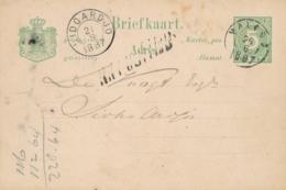 Nederlands Indië - 1887 - 5 Cent Cijfer, Briefkaart G8 Van KR Malang - NA POSTTIJD - Naar KR SIDOARDJO - Netherlands Indies