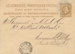 Nederlands Indië - 1883 - 7,5 Cent Willem III, Briefkaart G5 Van KR Meester Cornelis (Blauw) Naar Emmerik / Deutschland - Netherlands Indies