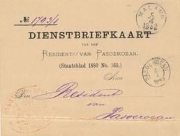 Nederlands Indië - 1882 - Portvrije Dienstbriefkaart Van Rondstempel MALANG Naar KR Pasoeroean - Netherlands Indies
