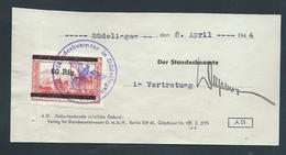 """Gebührenmarke Düdelingen - 60 Rpf Stempel """"Standesbeamter In Düdelingen Kreis Esch/Alzig"""" (08-04-1944) - Steuermarken"""