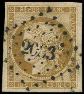 EMISSION DE 1849 - 1    10c. Bistre-jaune, Nuance Foncée, Obl. PC, Très Belles Marges, TTB - 1849-1850 Cérès
