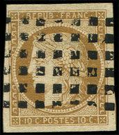 EMISSION DE 1849 - 1    10c. Bistre-jaune, Obl. GROS POINTS, TB - 1849-1850 Cérès