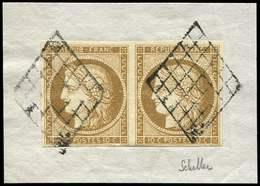 EMISSION DE 1849 - 1    10c. Bistre-jaune, PAIRE Obl. GRILLE S. Fragt, TTB. Certif. Scheller - 1849-1850 Cérès