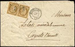 Let EMISSION DE 1849 - 1    10c. Bistre-jaune, PAIRE Obl. PC 2128 S. LSC, Càd T15 MONTPELLIER 6/52, TTB. C - 1849-1850 Cérès
