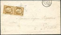 Let EMISSION DE 1849 - 1    10c. Bistre-jaune, PAIRE 1 Ex. Touché, Obl. ETOILE PLEINE S. Faire-part, Càd T1302 PARIS 11/ - 1849-1850 Cérès