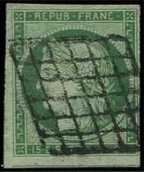 EMISSION DE 1849 - 2    15c. Vert, Oblitéré GRILLE, Filet De Voisin En Bas, TB - 1849-1850 Cérès