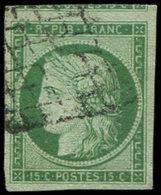 EMISSION DE 1849 - 2b   15c. Vert-jaune, Oblitéré GRILLE, Voisin En Haut, TTB, Cote Et N° Maury - 1849-1850 Cérès