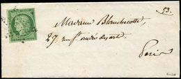 Let EMISSION DE 1849 - 2a   15c. Vert Clair, Obl. ETOILE S. LAC De Paris Pour Paris, TTB. C - 1849-1850 Cérès