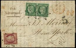 Let EMISSION DE 1849 - 2b Et 6, 15c. Vert FONCE PAIRE Touchée En Bas 1f. Carmin, Obl. Etoile S. LAC De PARIS 10/2/53, Po - 1849-1850 Cérès