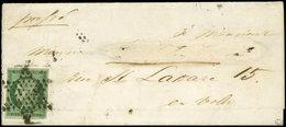 Let EMISSION DE 1849 - 2c   15c. Vert TRES FONCE, Bien Margé, Obl. ETOILE S. LSC, Au Verso Càd PARIS (60) 2/12/52, Nom D - 1849-1850 Cérès