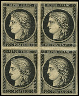* EMISSION DE 1849 - 3    20c. Noir Sur Jaune, BLOC De 4, Ch. Légère, Très Frais, TTB. J - 1849-1850 Cérès