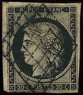 EMISSION DE 1849 - 3    20c. Noir Sur Jaune, Papier épais, Obl. GRILLE, TB - 1849-1850 Cérès