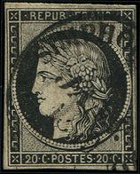 EMISSION DE 1849 - 3    20c. Noir Sur Jaune, Obl. Càd T14 ST SYMPHORIEN (  ) 5 JANV 1849, Marge Fine à Droite, Sinon TB. - 1849-1850 Cérès