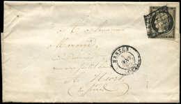 Let EMISSION DE 1849 - 3h   20c. Noir INTENSE, Obl. GRILLE S. LAC, Càd T15 NANTES 5/1/50, TB - 1849-1850 Cérès