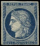 * EMISSION DE 1849 - 4a   25c. Bleu Foncé, Filet Touché Et Pelurage Sur Marge Inférieure, Sinon Très Frais. C - 1849-1850 Cérès