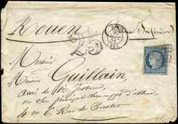 Let EMISSION DE 1849 - 4    25c. Bleu, Obl. GRILLE S. Env., Càd T15 PARIS 22/9/51 Et Taxe 25 DT, TB - 1849-1850 Cérès