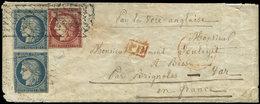 Let EMISSION DE 1849 - 4    25c. Bleu PAIRE (effl. En Angle) + N°6 1f. Carmin Effl., Obl. GRILLE SANS FIN Apposée à L'ar - 1849-1850 Cérès