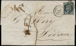 Let EMISSION DE 1849 - 4a   25c. Bleu Foncé, Obl. GRILLE S. LAC, Càd T15 PARIS 9/4/51 Et Taxe Plume 25 Pour SEDAN 10/4,  - 1849-1850 Cérès