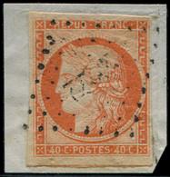 EMISSION DE 1849 - 5    40c. Orange, Oblitéré PC Sur Fragment, TB. J - 1849-1850 Cérès