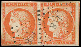 EMISSION DE 1849 - 5    40c. Orange, PAIRE Oblitérée PC 898, TB. C - 1849-1850 Cérès