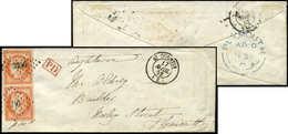Let EMISSION DE 1849 - 5    40c. Orange, PAIRE, Obl. PC 3256 S. Env., Càd T15 ST QUENTIN 17/4/52, Arr. Càd Bleu PLYMOUTH - 1849-1850 Cérès
