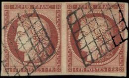 EMISSION DE 1849 - 6     1f. Carmin, PAIRE Obl. GRILLE, TB - 1849-1850 Cérès