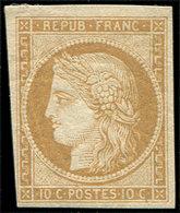 * EMISSION DE 1849 - R1f  10c. Bistre, REIMPRESSION, TB - 1849-1850 Cérès