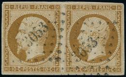 PRESIDENCE - 9    10c. Bistre-jaune, PAIRE Obl. PC 3053, TTB - 1852 Louis-Napoléon