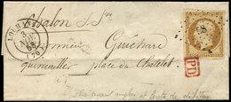 Let PRESIDENCE - 9    10c. Bistre Jaune, Défx, Obl. PC 58 Sur Petite LSC, Càd T15 LOUHANS 3/11/53, Aspect TTB - 1852 Louis-Napoléon